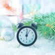 Clock and christmas decoration — Stock Photo #59297389