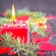 Red candle and christmas decorations — Stock Photo #59298371