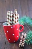 Sweet biscuit tubes for tea — Stock Photo
