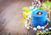 Decoración de la navidad en una mesa — Foto de Stock