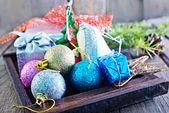 Christmas decoration on a table — Stock Photo