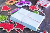 Envelopes and christmas decoration — Foto de Stock