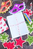 Envelopes and christmas decoration — Stock Photo