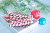 Christmas candies in wooden box — Stock Photo