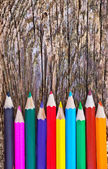 Color pencils on the wood — Stock Photo