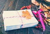 Envelopes and autumn leaves — Zdjęcie stockowe