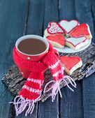 Cookies and cocoa in cup — Stock Photo