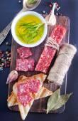 Salami and sauce — Stock Photo