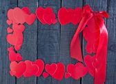 Rode harten van papier — Stockfoto