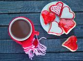 печенье и напиток какао — Стоковое фото
