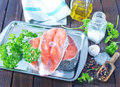 Raw salmon and aroma spice — Stock Photo
