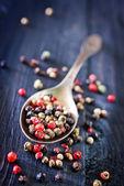 Pepper mix in metal spoon — Stock fotografie