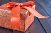 Box for present on table — Stock Photo