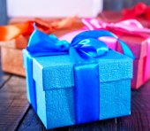 Box for present on table — Stockfoto