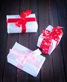 Boxes for present with ribbon — Stok fotoğraf