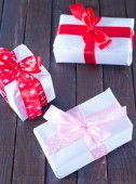 Boxes for present with ribbon — Stock Photo