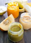 Baby food on table — Stock Photo