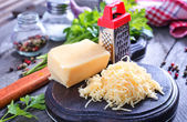 Tasty cheese on board — Stock Photo