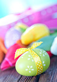 Easter eggs and box for present — Stock Photo