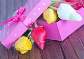 Pink box for present — Stock Photo