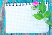 Flowers and sheet for note — Stock Photo