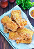 Fried fish on tray — Stock Photo