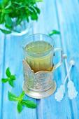 Mint tea in glass — Stock Photo