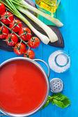 Tomato soup in metal bowl — Stock Photo