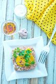 Meat tar tar with yolk — Stock Photo
