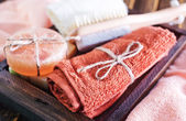 Clear towels and aroma soap — Stock Photo