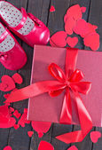 Box for present with ribbon bow — Stock Photo