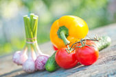 Raw vegetables on a table — Stock Photo