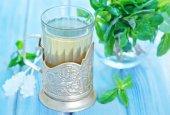 Mint tea in glass — Stock Photo
