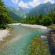 Azusa river and Hotaka mountains in Kamikochi, Nagano, Japan — Stock Photo #52329703