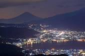 Night View of Suwa city and Mt.Fuji — Stock Photo