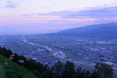 пейзаж в сумерках в seisho области, канагаве, япония — Стоковое фото