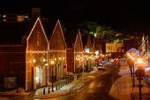 Kanemori Red Brick Warehouse at night in Hakodate, Hokkaido — Stock Photo