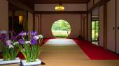Japanese house with round window — Stock Photo