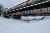 Covered Bridge in the winter — Stock Photo
