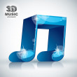Funky blue double musical note 3d modern style icon isolated, 3d — Stock Vector #55163885