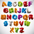 3D font, funny colorful alphabet. — Stock Vector #55168325