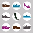 Footwear icon vector set, vector collection of shoes pictograms. — Stok Vektör #55169749