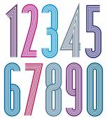Geometric colorful numbers with straight lines. — Vetorial Stock