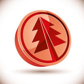 3d red round Christmas tree icon. — Vettoriale Stock