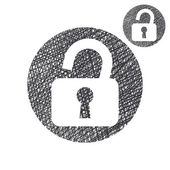 Padlock open lock vector simple single color icon isolated on wh — Vecteur