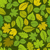 Different leaves seamless pattern, vector natural endless backgr — Stock Vector