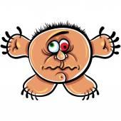 Wierd cartoon monster, absolute crazy numskull portrait, well, t — Stock Vector