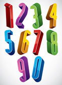 3d extra tall numbers set made with round shapes. — Stock Vector