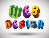 Web Design advertising phrase made with 3d retro style geometric — Stock Vector