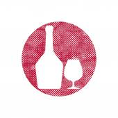 Glass and bottle of cognac icon with pixel print halftone dots t — Vettoriale Stock